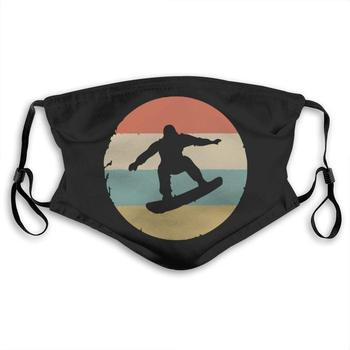 Vintage Retro Snowboarder Mouth Cover Mask with PM2.5 Filters 5 Layers of Protection for Men Women Black недорого