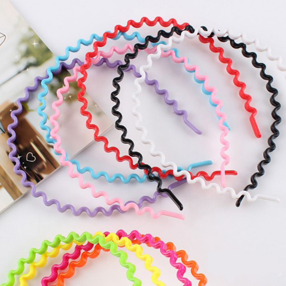 1 Pcs Girl Head Hoop Candy Colored Plastic Wave Shape Children Hair Headdress Lady Hairbands Hairband Hair Accessories For Women
