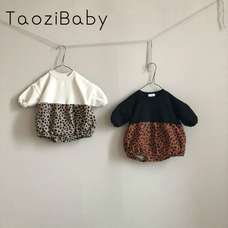 Baby Girl Bodysuits Leopard Print Plush One-piece Baby Fashion Pattern Splicing Package Fart Creeper Little Girls Clothes