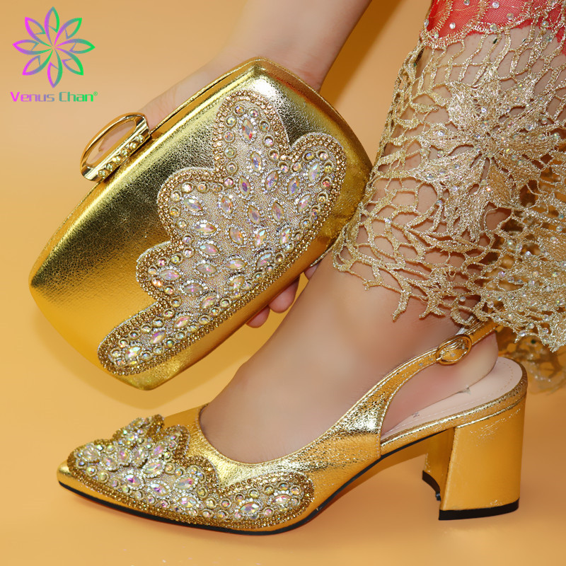 Wedding Dress Elegant Gold Color Shoes And Bag To Match Set Nigerian High Heels Party Shoes And Bag Set For Royal Party