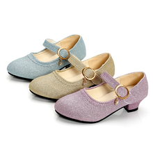 Модная обувь принцессы для маленьких девочек; кожаная обувь на каблуке; обувь для танцевальной вечеринки; Милая элегантная обувь; SC059