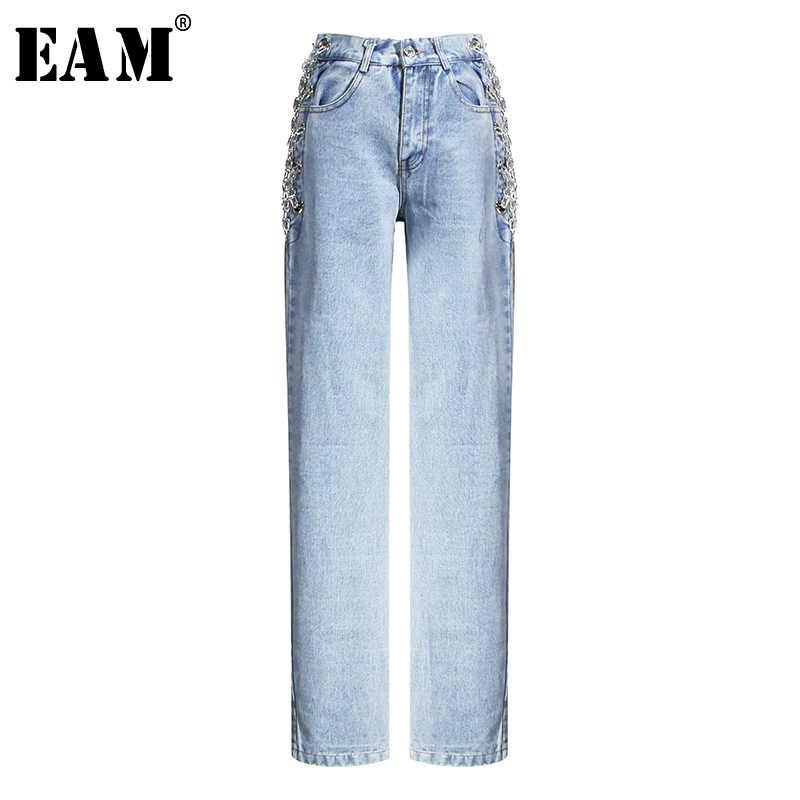 Женские облегающие джинсы EAM, синие свободные брюки с высокой талией, весна-осень 2020, 1U317