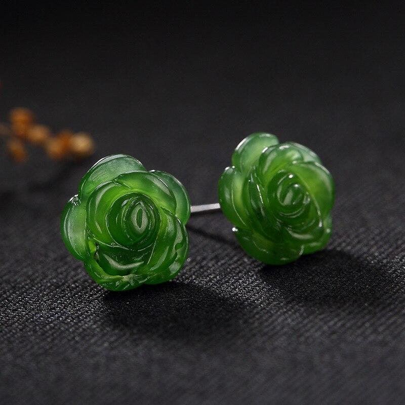 Mode 925 argent pierre rose fleur petit vert boucle d'oreille pour les femmes