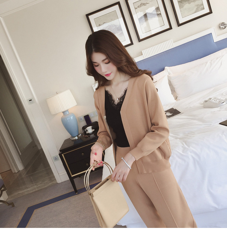 Korean Women Knitted 2 Piece Sets Outfits Long Sleeve Zip-up Cardigan And Pants Suits Ladies Fashion Elegant Two Piece Sets 2019 38