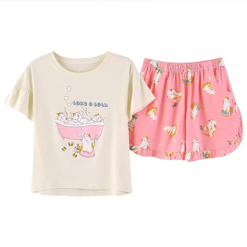 New Cute Pajamas Sets With White And Pink /grey And Blue  8 Color Animal Printed Cotton Fashion Women Pajama Sets Hot Selling