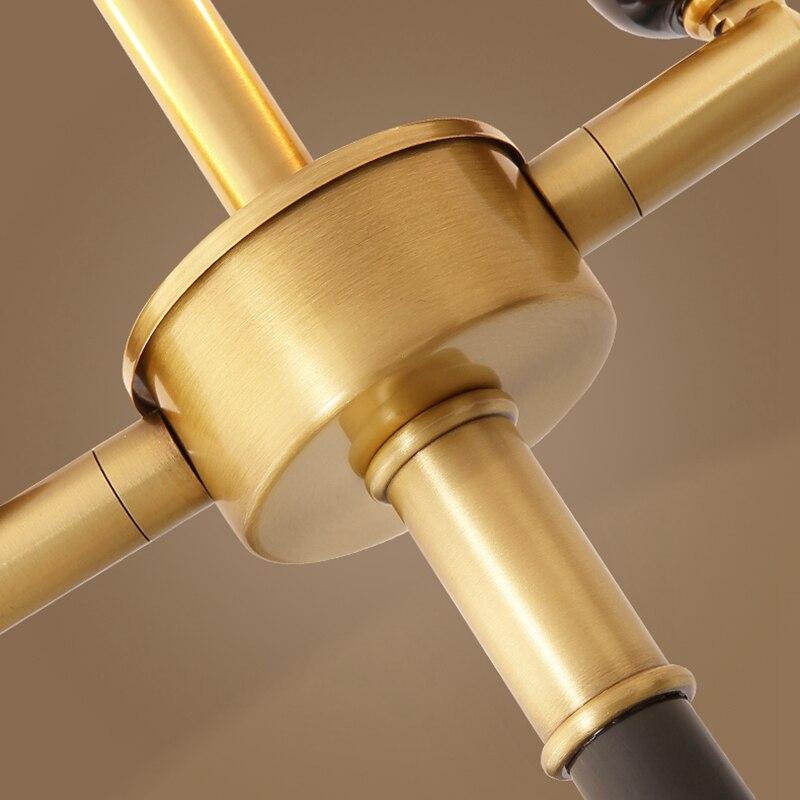Américain cuivre lampadaire H65 laiton Art décoration bureau salon chambre hôtel Villa lampe sur pied 12W E27 vis LED ampoule - 3