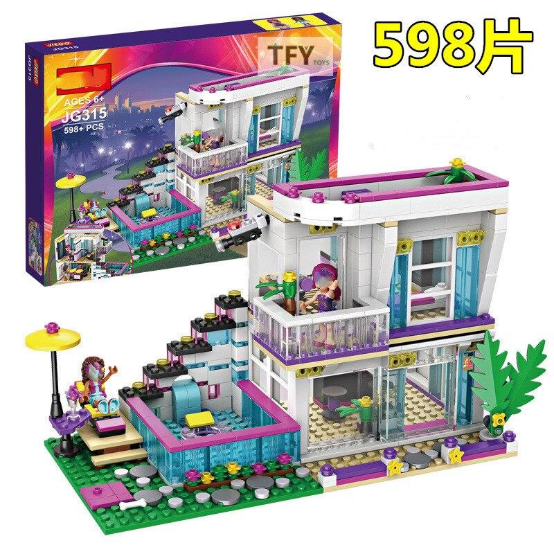 598 piezas Pop Star Livi's House Building Compatible Legoinglys amigo para niñas figuras DIY juguetes educativos para niños 52-143 Uds. Carrera de mármol laberinto bolas bloques de construcción tamaño grande jungla aventura Construcción de ladrillos juguetes compatibles para niños