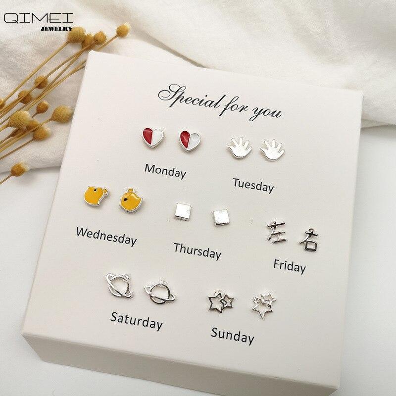 FN Trendy Week Stud Earrings Set Jewelry For Women 2019 Metal Geometric Earrings Gold Silver Earrings Stainless Steel Jewelry