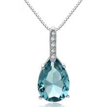 Necklace Topaz-Pendant Blue Natural Drop-Shape 925-Sterling-Silver Women Water Pure Bizuteria