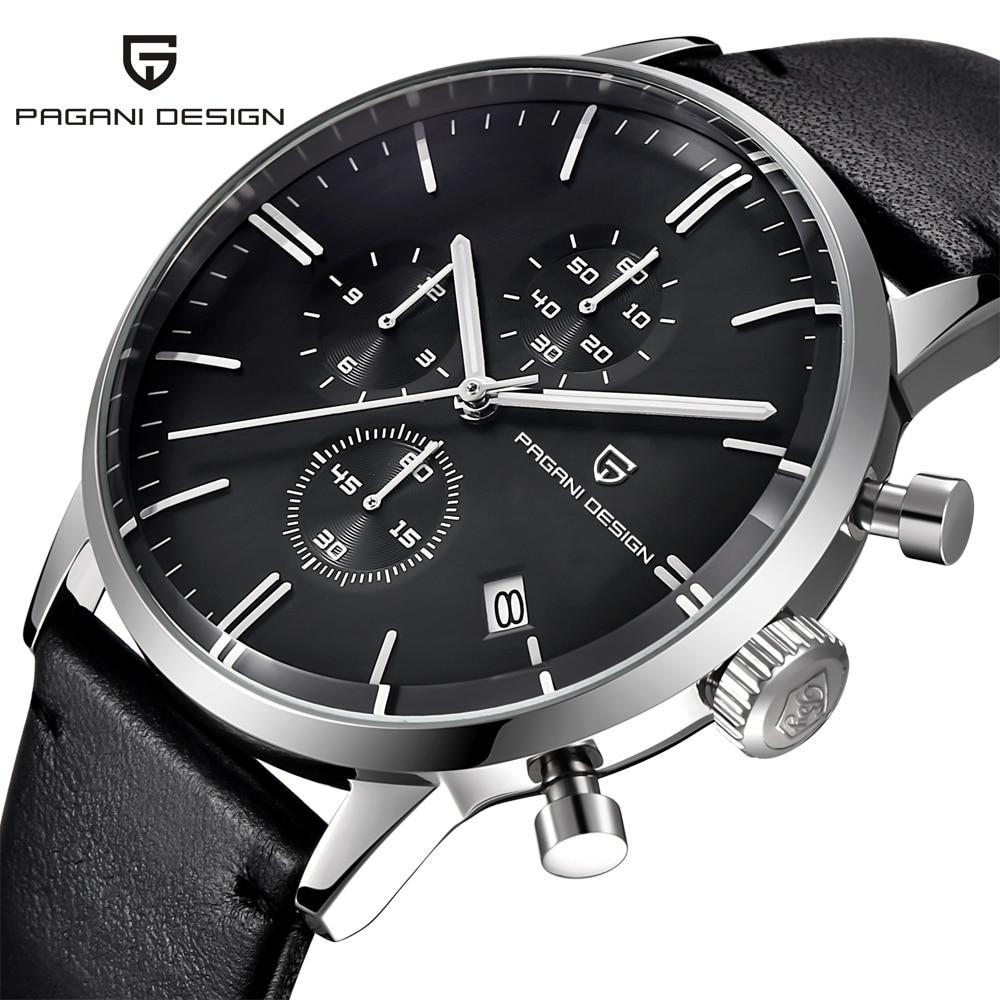 Mens Watches Top Brand Luxury Waterproof 30M Genuine Leather Japanese Seiko VK67 Movement Quartz Watches Men Relogio Masculino