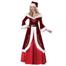 Cossky sra. claus traje de natal festa de natal papai noel cosplay feminino vestido vermelho conjunto completo