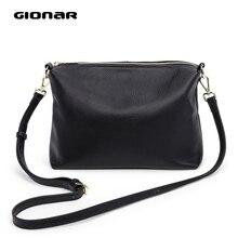 GIONAR RFID Luxury Genuine Real Leather Shoulder Bag Designer Black Cro