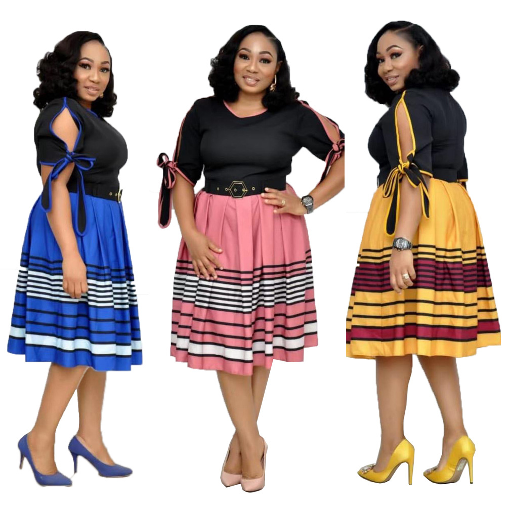2019 New Arrival Summer And Autumn African Women Beauty Plus Size Knee-length Dress M-XXL