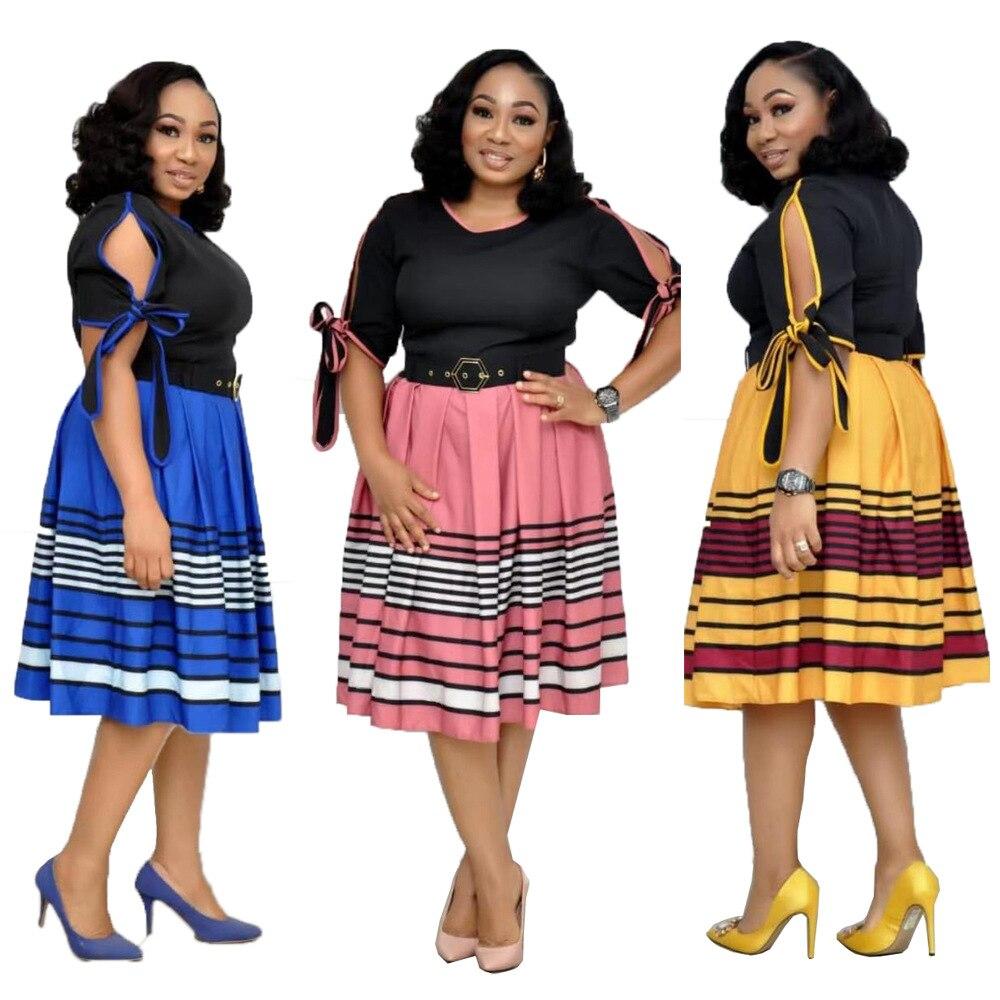 2019 New Arrival Summer And Autumn African Women Beauty Plus Size Knee-length Dress M-XXL