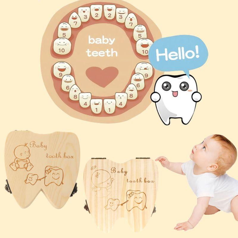 Baby Tooth Box Wooden Milk Teeth Organizer Storage Boys Girls Save Souvenir Case