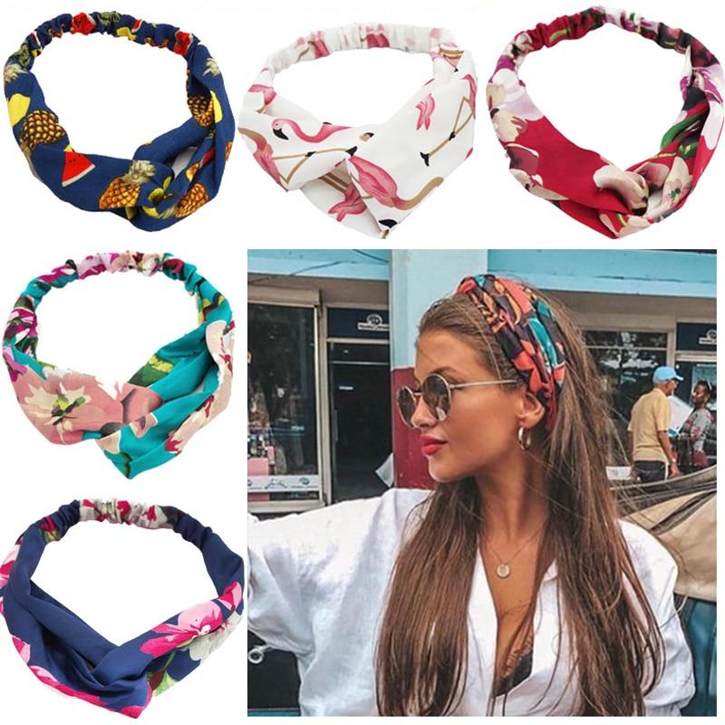 Women Headband Hair-Accessories Elastic-Hair-Bands Fashion Floral Cross-Knot Soft-Print