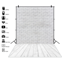 Gray Wall Backdrop For Photography Brick White Wood Floor Party Baby Doll Portrait Photographic Background For Photo Studio