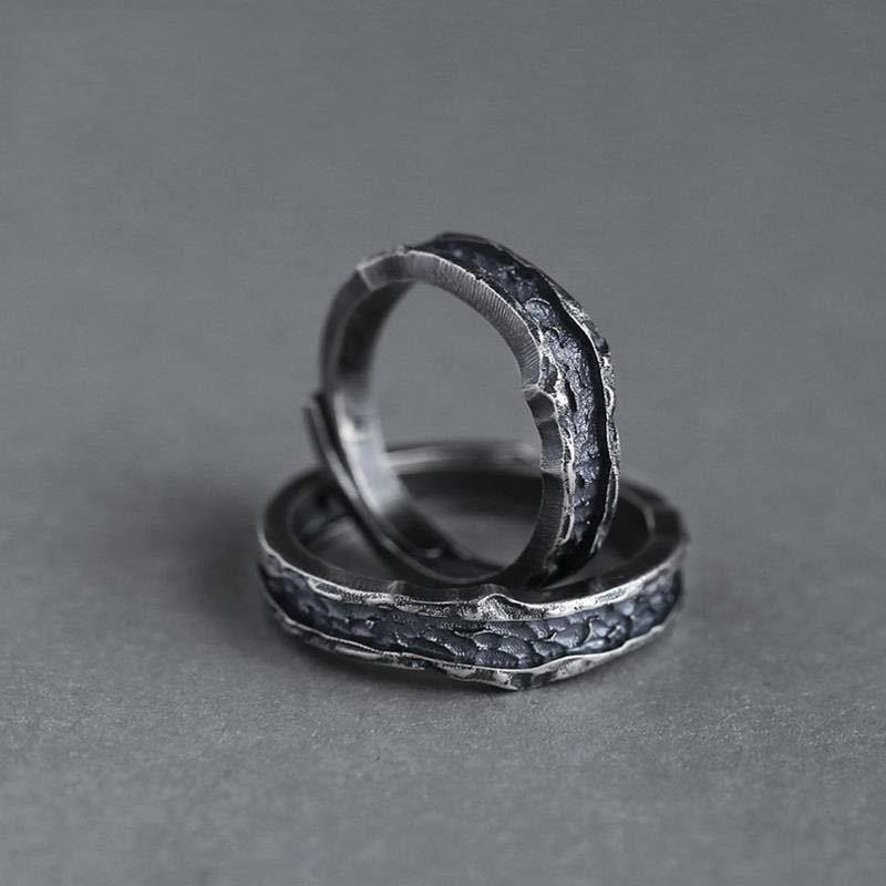 Vintage Weiblich Männlich Metall Großen Ring Versprechen 14KT Schwarz Gold Öffnen Engagement Ring Punk Paar Hochzeit Ringe Für Frauen Männer