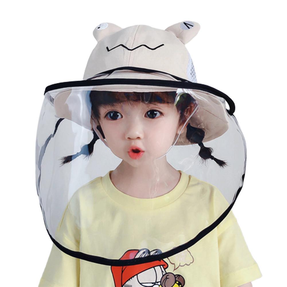 Kids Cute Frog Duck Anti-Spitting Breathable Face Shield Suncap Wide Brim Hat Transparent Anti Splash Visor Shield Mask