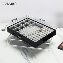 Dressing table cosmetic storage box transparent jewelry box holder ear stud bracelet finishing box drawer European style(China)