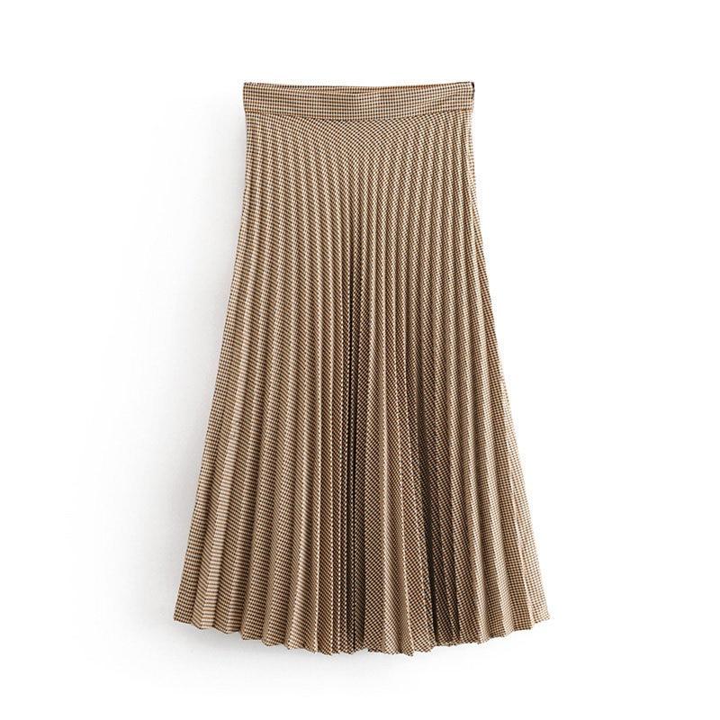 Women's High Waist Plaid Pleated Midi Skirt Vintage Elegant Ladies Side Zipper Saias Casual Loose Falda Mujer Streetwear Skirts