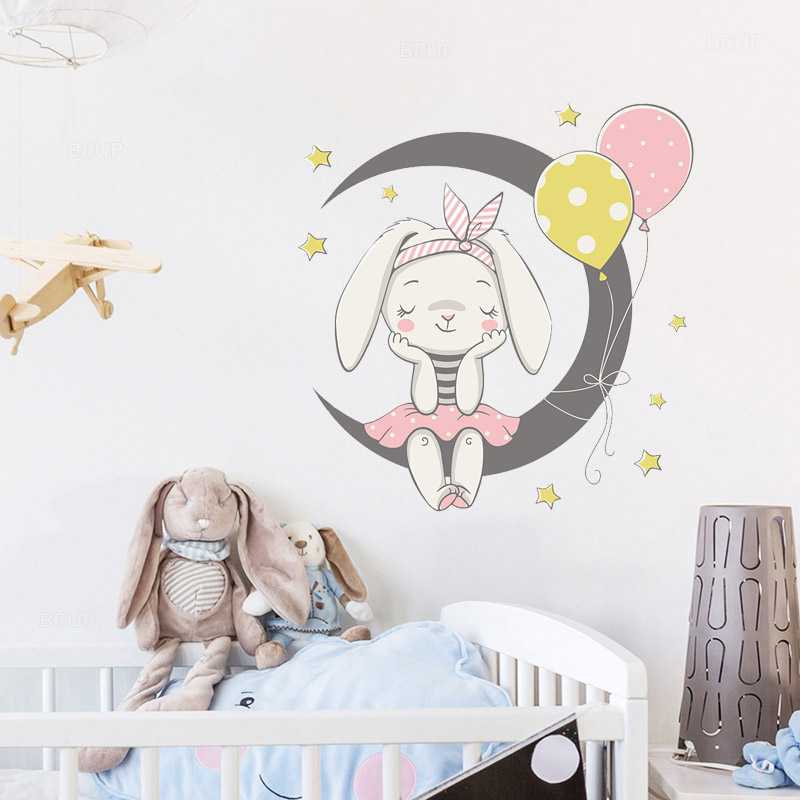Cartoon Cute Bunny Sit On the Moon Wall Stickers with Rabbit Balloon Stars for Kids Room Baby Room Decoration Wall Decals PVC