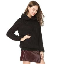 Women Chic Scarf Collar Knitted Pullovers Sweater Long Sleeve Warm Solid Female Casual Autumn Winter N
