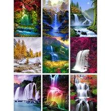 5D Diamond Mosaic Cross Stitch Scenery Full Square Drill Wall Decor Rhinestone Embroidery Waterfall  Handmade