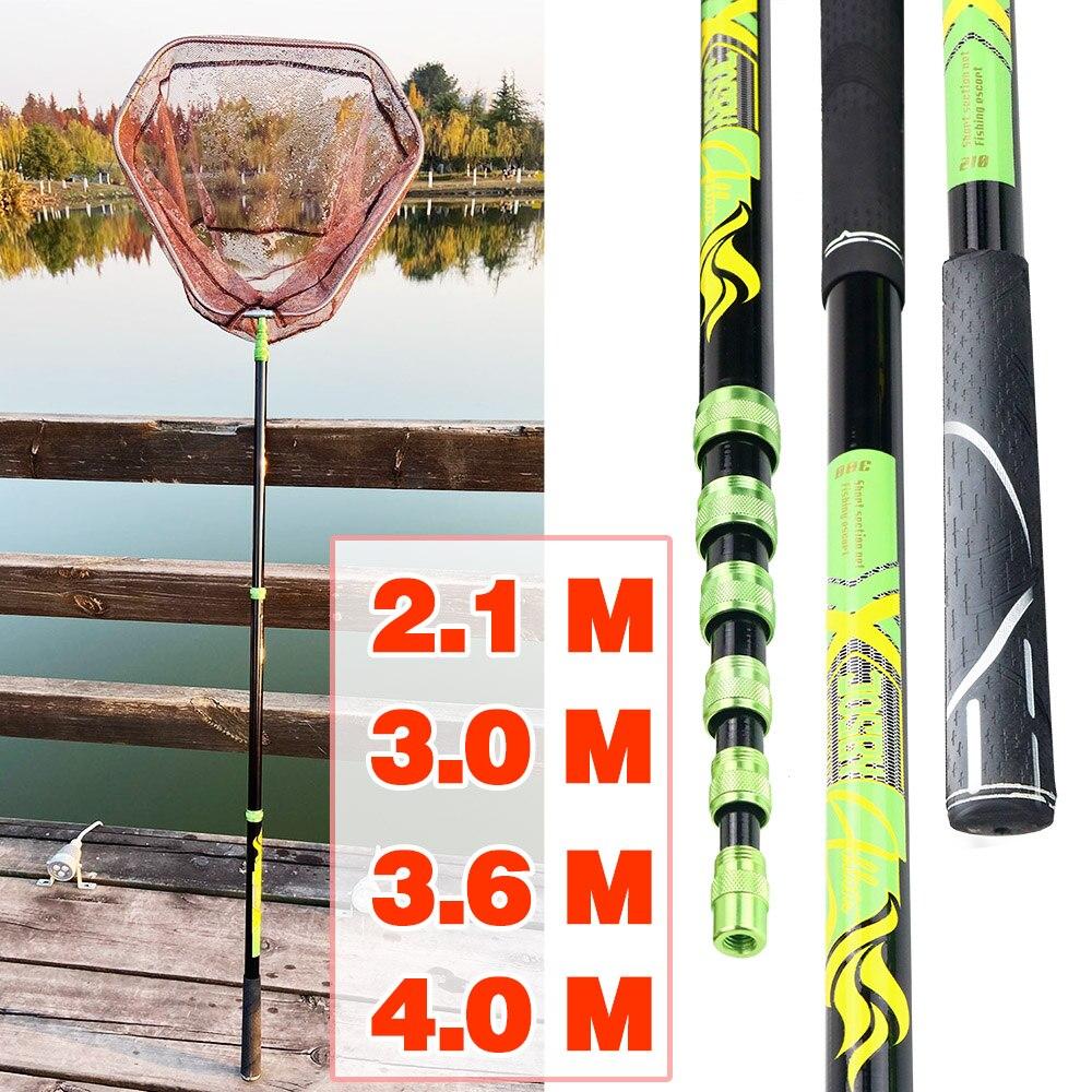 3.6m 4m Fishing Net Fish Landing Net Foldable Collapsible Telescopic Pole Handle Durable Mesh 3m 2.1m