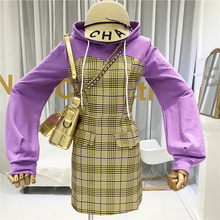Designer Women Dresses 2019 High Quality Autumn Winter Plaid Patchwork  Above Knee, Mini Puff Sleeve Street