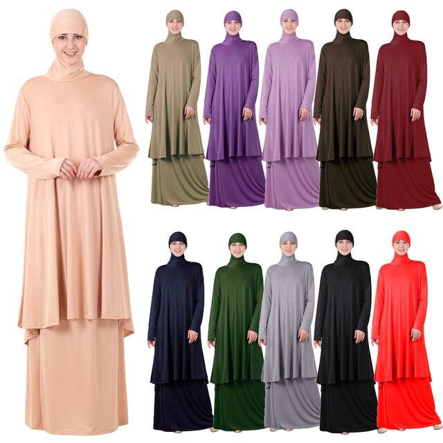 שתי חתיכות סט תפילה אסלאמיים העבאיה שמלה מוסלמית נשים גדול צעיף מקסי חצאיות Jilbab ברדס חיג אב קפטן גלימה ערבית הרמדאן
