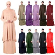 두 조각 세트 이슬람기도 abaya 드레스 이슬람 여성 대형 스카프 맥시 스커트 jilbab 후드 hijab kaftan 아랍 로브 라마단