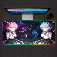 Mairuige Re Zero Anime Girl Gaming Mouse Pad RGB Large Gamer Lock Mausepads Led Backlight XXL Computer Office Keyboard Desk Mat