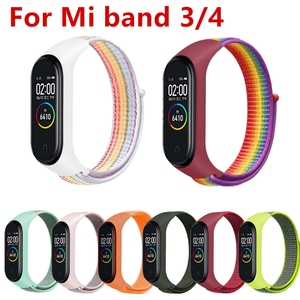 Replaceable For Xiaomi Mi Band 3 4 Strap silicone Nylon Bracelet Sport Wristband For Mi band 4 3 Nylon Smart Watch miband 3 4