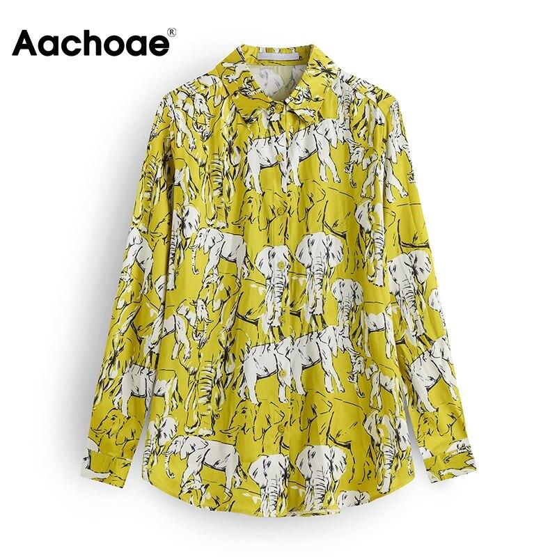 Aachoae 2020 Animal Print Blouse Shirt Women Long Sleeve Casual Satin Blouses Turn Down Collar Office Wear Vintage Shirts Tops