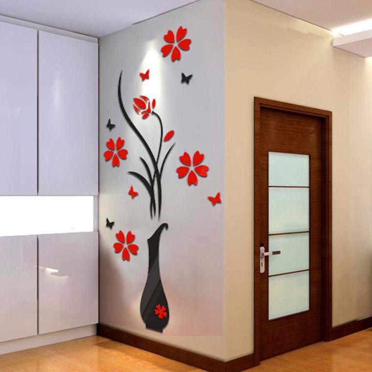 Un ensemble d'autocollants bricolage Vase arbre à fleurs cristal acrylique 3D Stickers muraux Stickers maison décoration murale noir et rouge # YL10