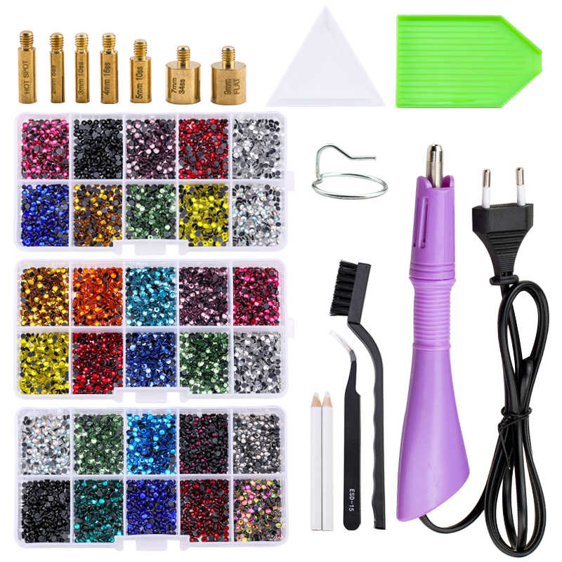 Vendita calda Nuovo Set 2000pcs Hot fix Strass Applicatore Hotfix con 7 Punte di Cristallo del Rhinestone di Vetro di Ferro-on bacchetta Strass