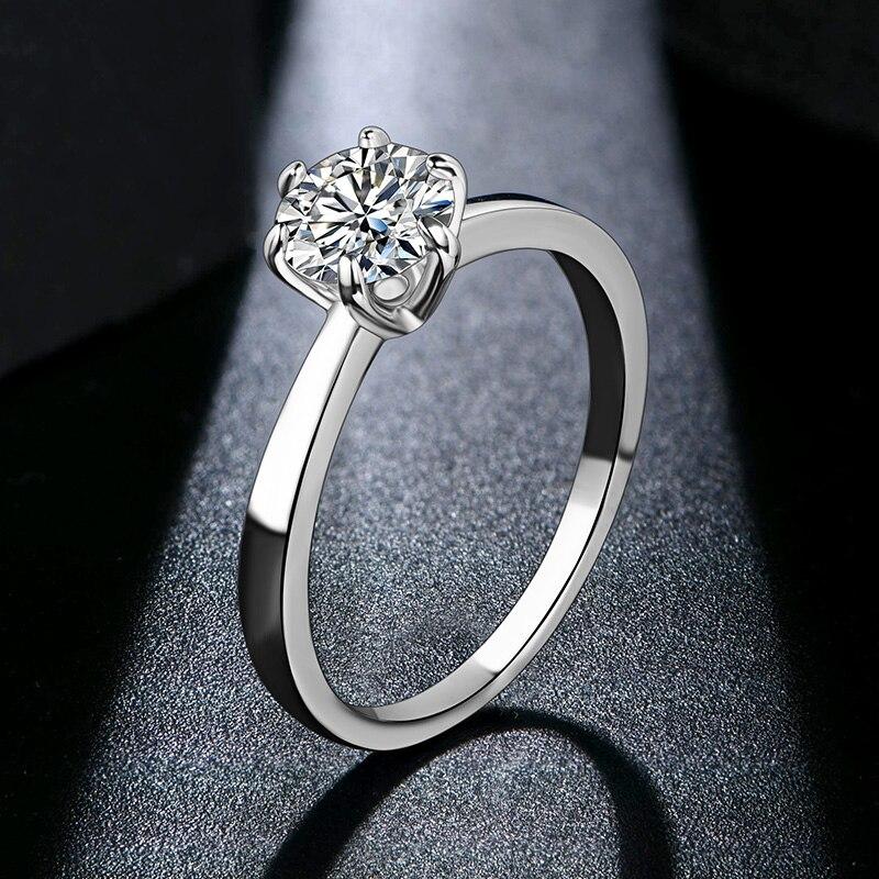ATTAGEMS 1ct 2ct 3ct Moissanite Ring Round Brilliant Cut Diamond Test Passed Moissanite Diamond Solitaire Rings for Women 3