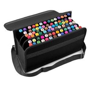 Image 1 - 80 Gaten Premium Kwaliteit Oxford Etui Markers Tas Draagbare Grote Capaciteit School Potlood Tas Voor Schilderen Leveringen