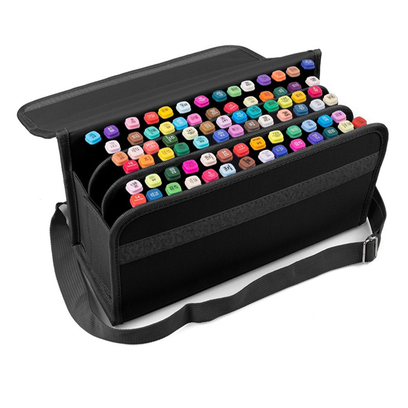 80 Holes Premium Quality Oxford Marker Pen Case Markers Bag Portable Case Large Capacity School Pencil Bag For Painting Supplies