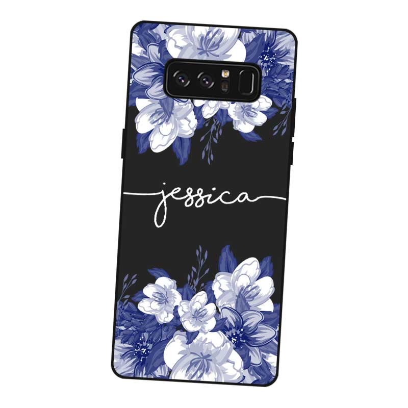 Flower Custom Name DIY Black Soft TPU Silicone Case Cover For Samsung Galaxy Note 3 4 5 8 9 M10 M20 M30 Grand Prime in Fitted Cases from Cellphones Telecommunications
