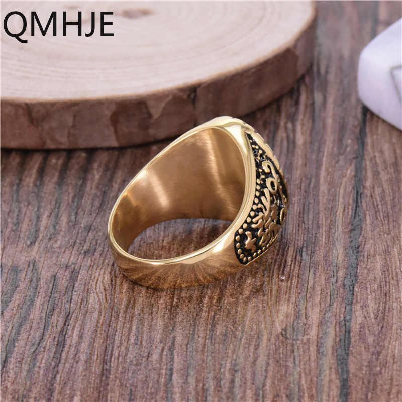 เล็บผู้ชาย Ring Signet GOLD สีไทเทเนียมสแตนเลสชายแหวน Punk Hip VINTAGE เครื่องประดับงานแต่งงาน PARTY DAR023