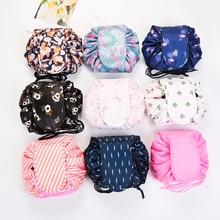 Women Drawstring Travel Cosmetic Bag Makeup Bag Organizer Make up Bag Case Storage Pouch Toiletry Beauty Kit Box Flamingo Pouch