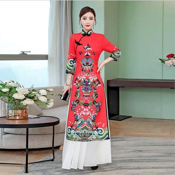 Vintage Chinese Style Cheongsam Long Gown Qipao Retro Womens Party Evening Dress Vestidos Clothing Plus Size