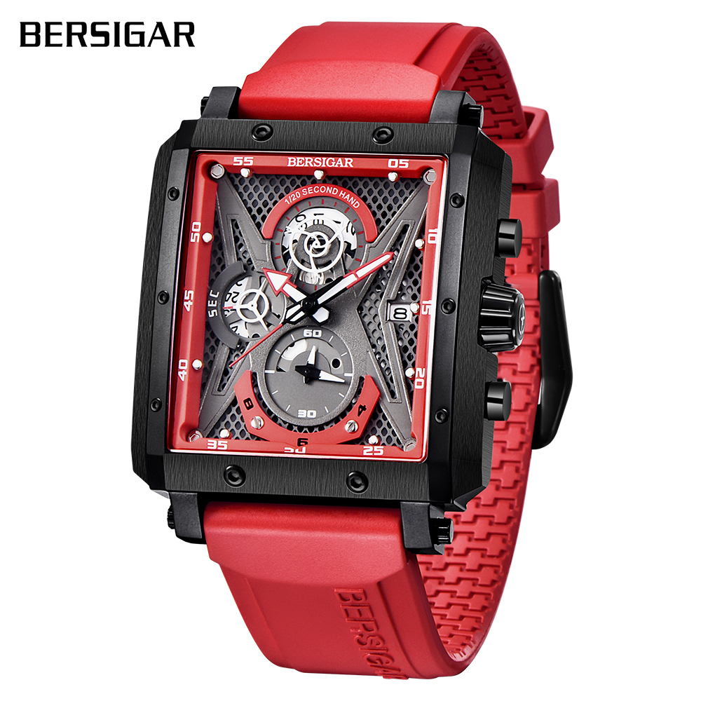 Rectangular Watches for Men BERSIGAR Mens Watch Barrel Type Quartz Fashion Luxury Sports Waterproof Chronograph Silicone Strap