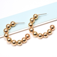 ZA New Arrive Gold Metal Hang Round Beads Drop Earrings Wholesale Fashion Simple Pendientes Fine Jewelry Accessories For Women