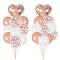 20 шт розовые и золотые Воздушные шары гелиевые конфетти латексные набор воздушных шаров для свадьбы День рождения украшения поставки Baby ...