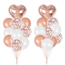 20Pcs Rose Gold Ballonnen Helium Confetti Latex Ballon Voor Bruiloft Verjaardag Party Decoraties Levert Baby Shower Gunsten