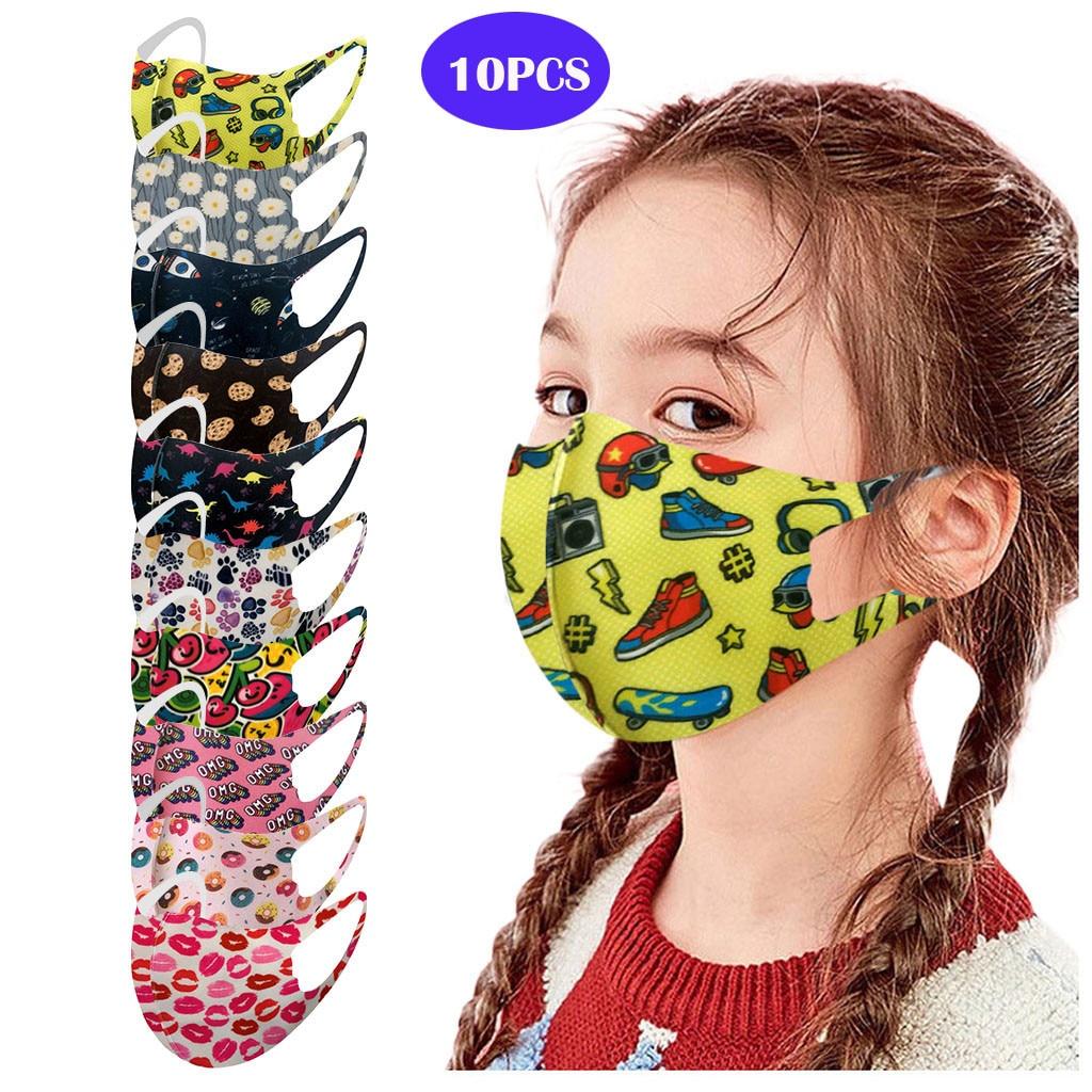 10 шт. в упаковке, Детская ветрозащитная пыле повторяемая моющиеся печатная ледовая Шелковая Маска для защиты от пыли и дымки маски