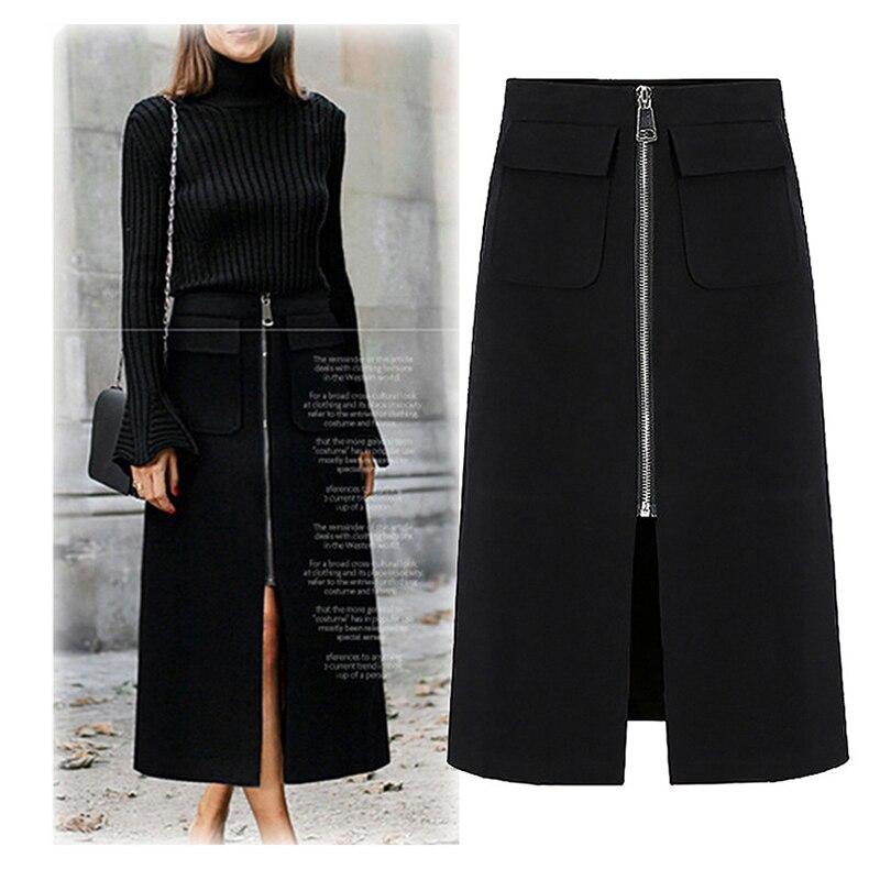 2019 Skirts Women Cotton Zipper Pocket A-Line Ankle Skirt Autumn Winter Elegant Split Front Office Ladies Streetwear Women Falda